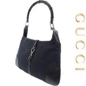 Authentic GUCCI hobo/Shoulder bag black canvas